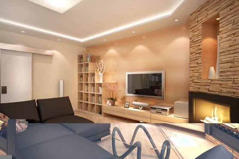 Дизайн зала с камином 18 метров