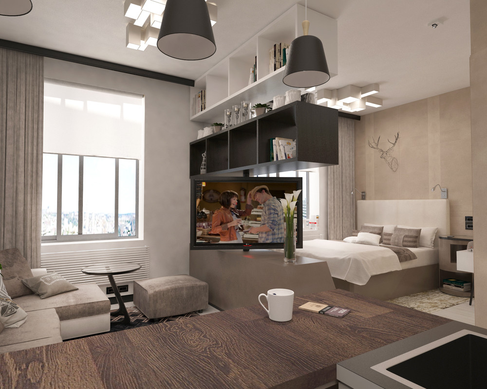 Интерьер дизайна однокомнатной квартиры 38 кв м