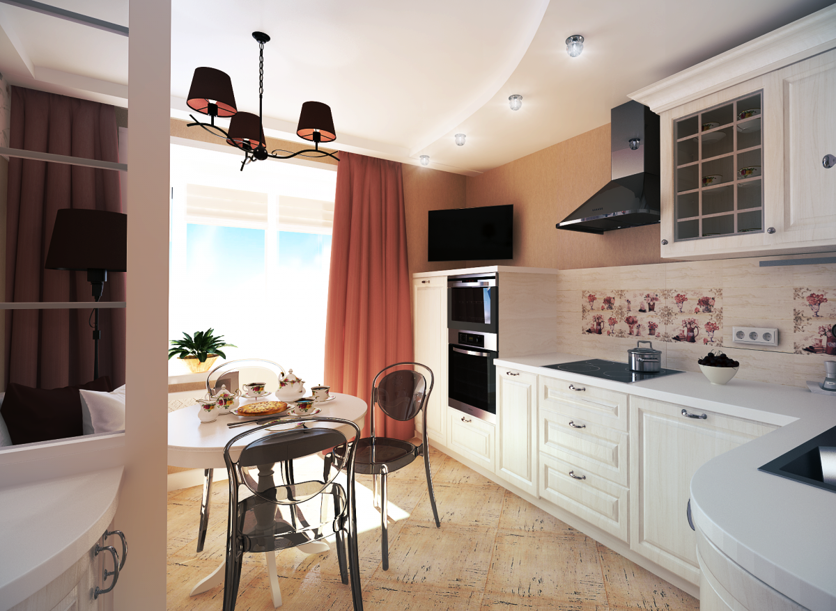 Квадратная кухня 11 кв м дизайн