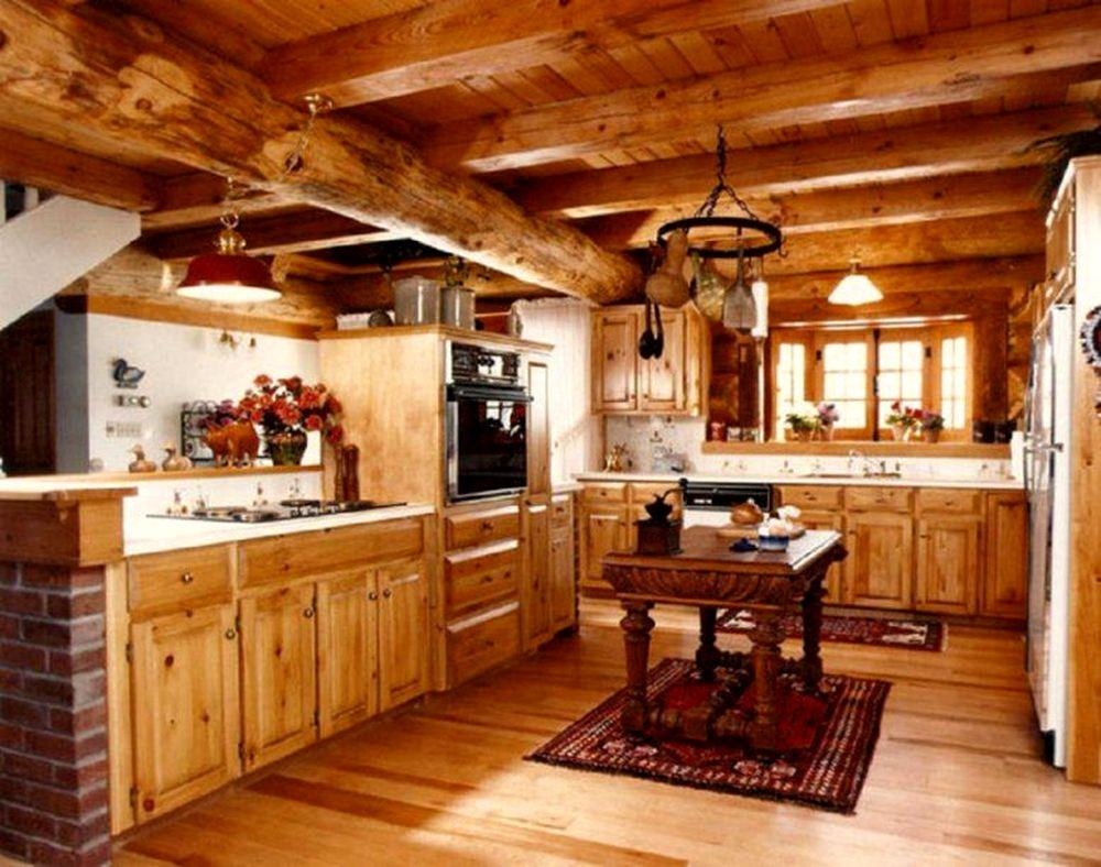 """Интерьер кухни в деревянном доме фото """" Картинки и фотографии дизайна квартир, домов, коттеджей"""