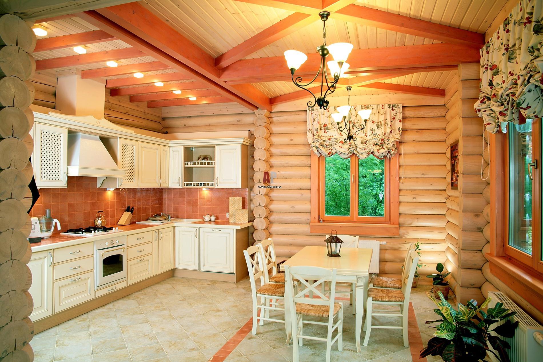 Кухни в деревянном доме интерьеры фото