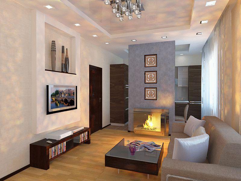 Дизайн гостиной с камином 15 кв м