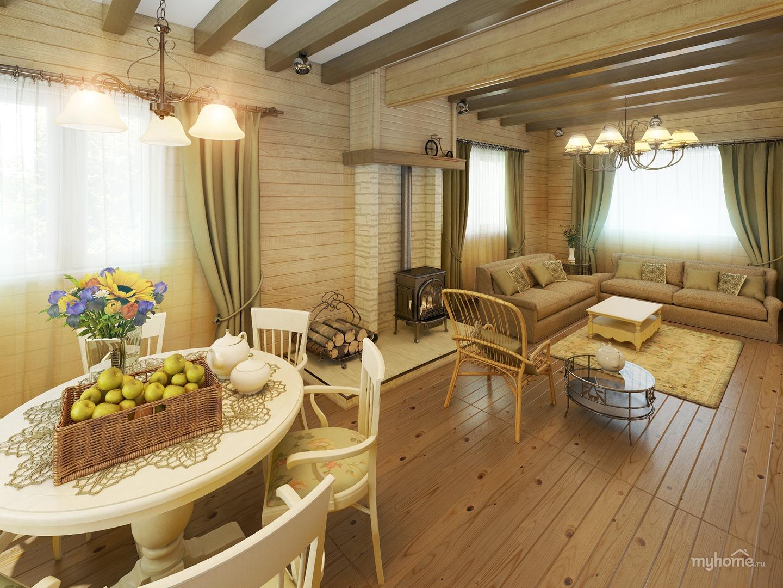 Дизайн интерьер в деревянном доме