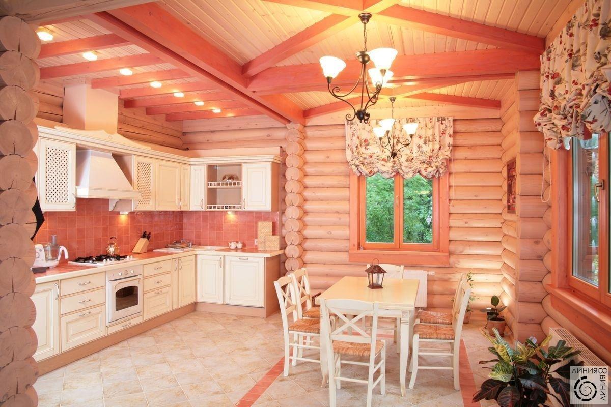 Интерьер кухни в деревянном доме фото с печкой