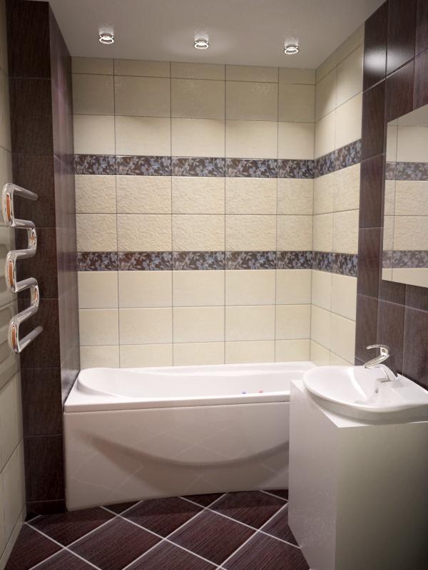 Ванная дизайн коричневая с бежевым 63