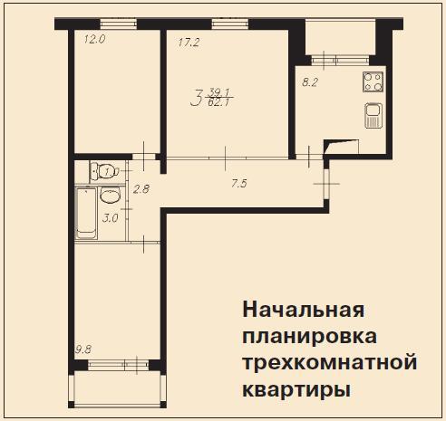 Трехкомнатная квартира в панельном доме фото