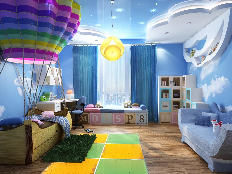 Дизайн детской с облаками