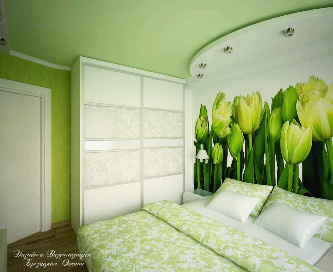 Зеленый дизайн спальни