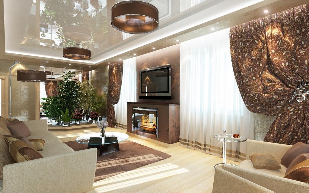 Дизайн зала в доме реальные