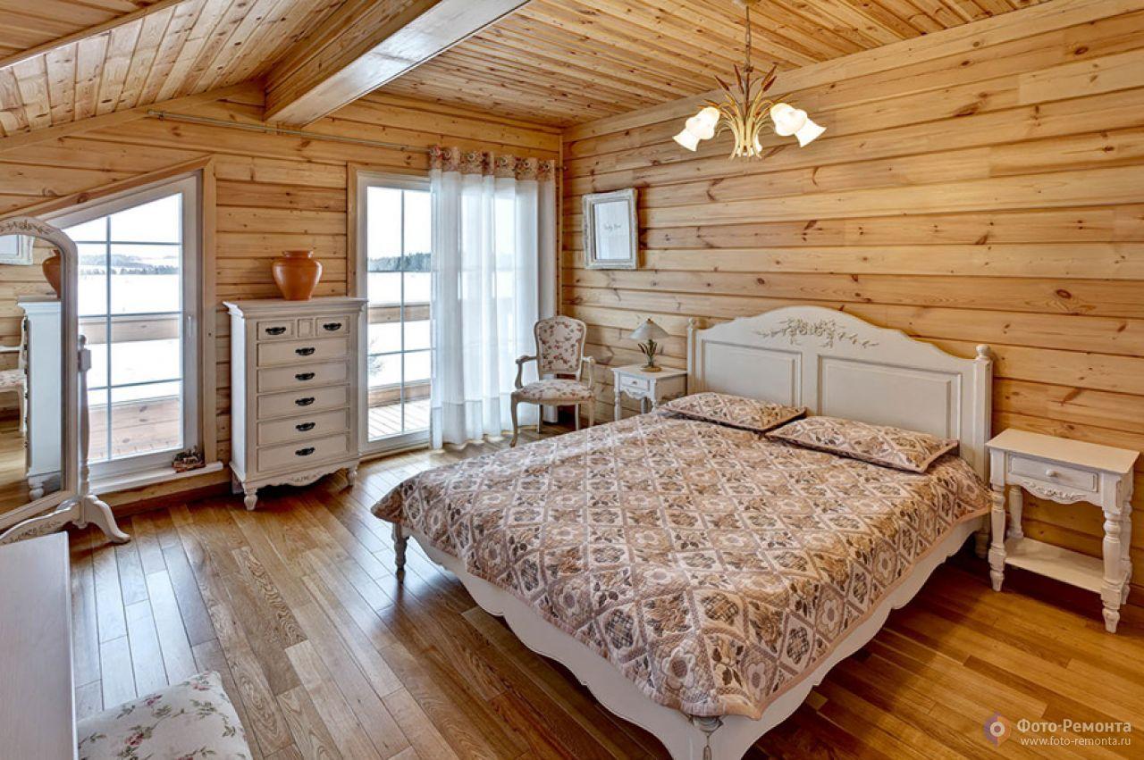 Дизайн спальни в стиле деревянного дома