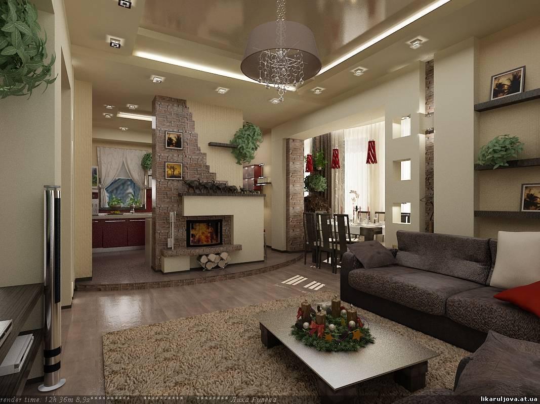 Интерьер кухня студия в частном доме фото