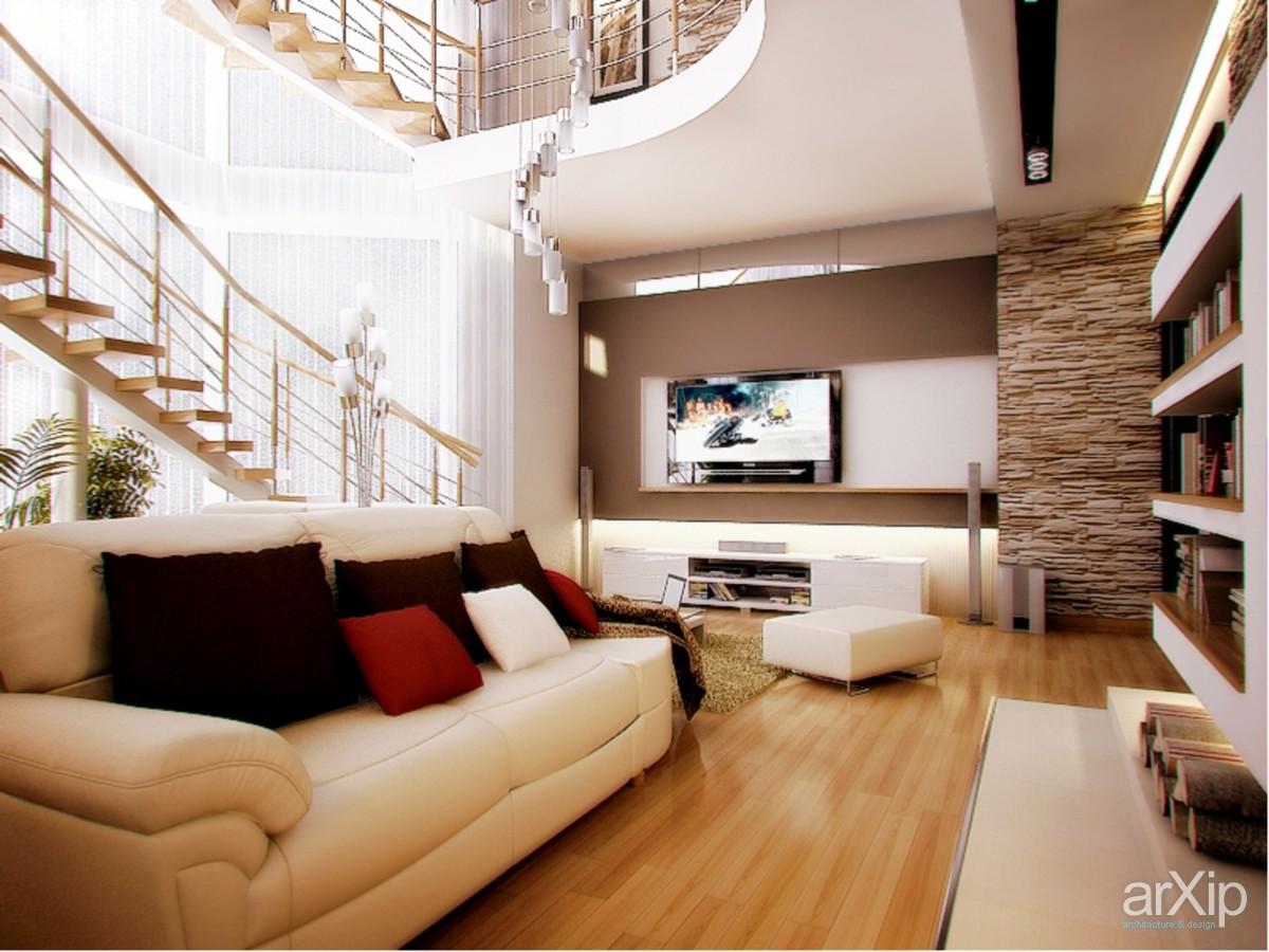 Гостиная в коттедже в современном стиле фото