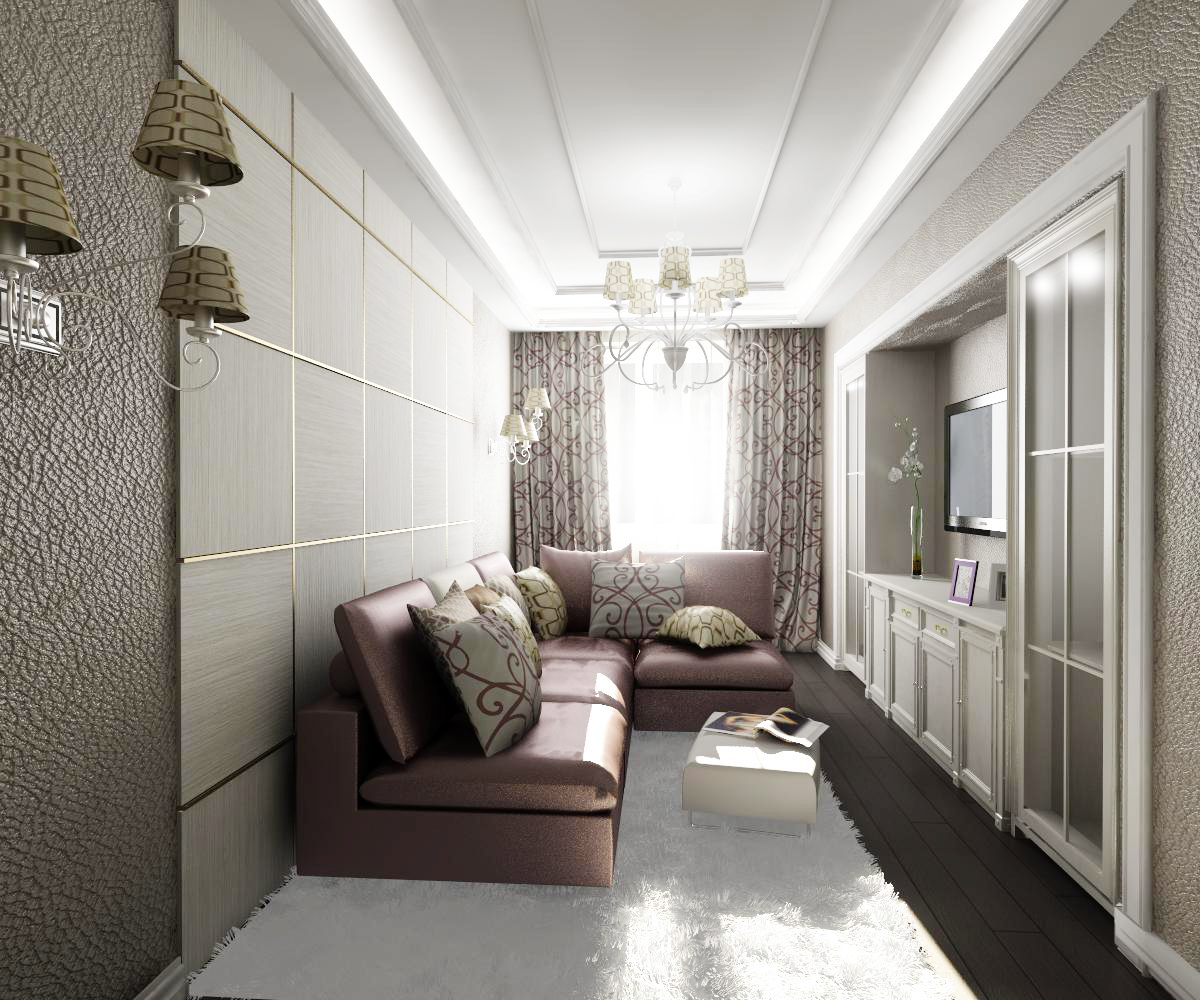 Фото интерьер длинной узкой комнаты