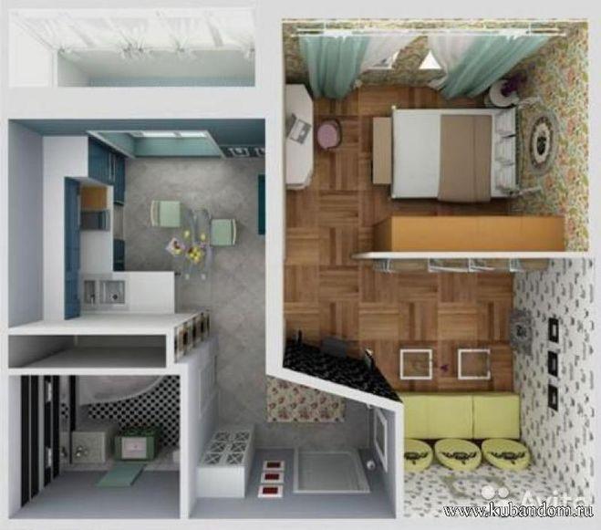 Дизайн проект однокомнатной хрущевки