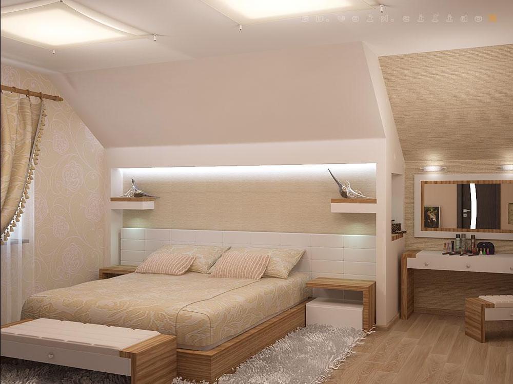 Дизайн спальни взрослой на мансарде
