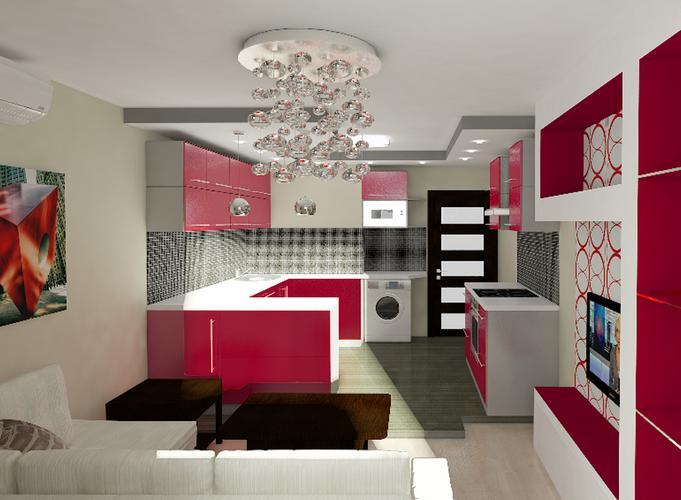 Гостиная кухня прямоугольная 18 квм дизайн