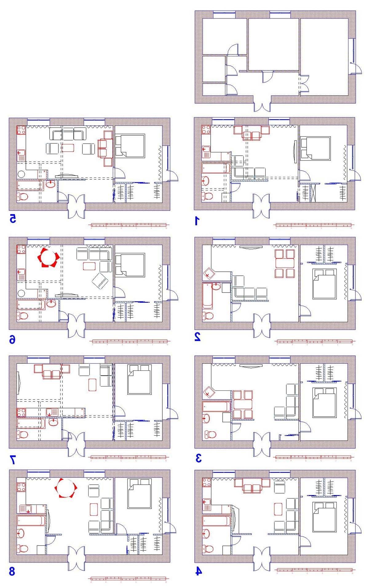 Схемы перепланировки 2 комнатной хрущевки