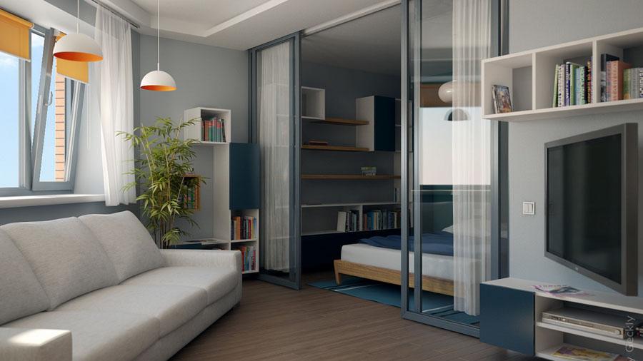 Интерьер малогабаритной 1-комнатной квартиры фото