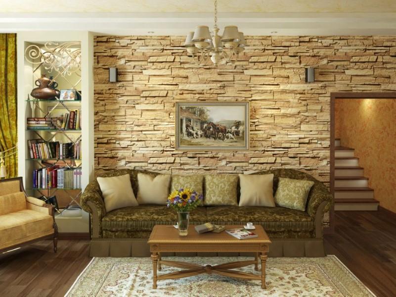 Дизайн интерьера диким камнем