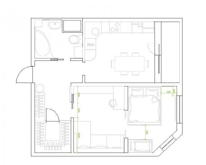 Дизайн проект однокомнатной квартиры 45 кв.м