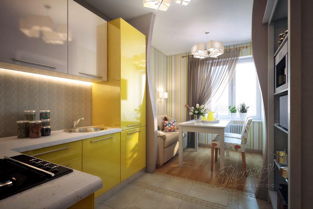 Интерьер маленькой кухни дизайн