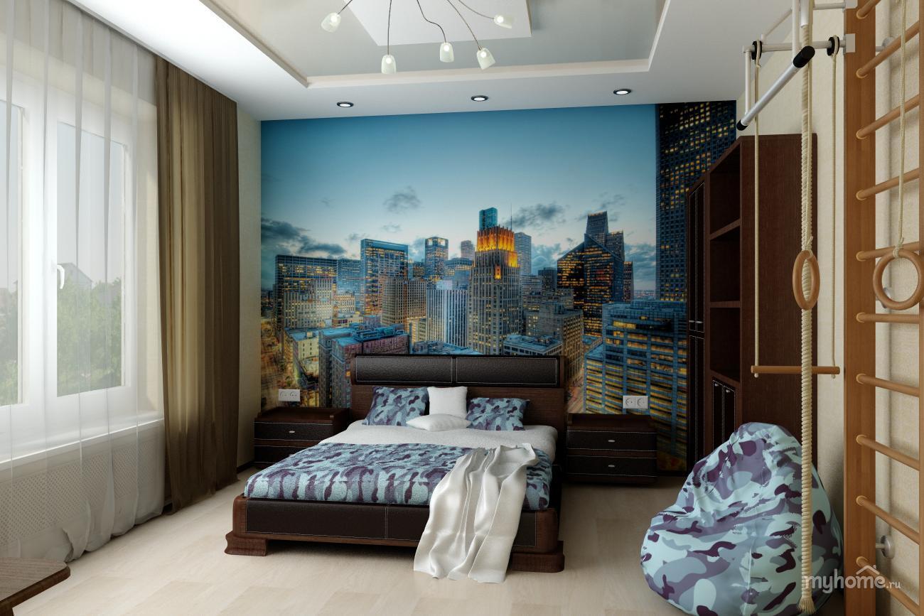 Фотообои город в интерьере комнаты подростка фото