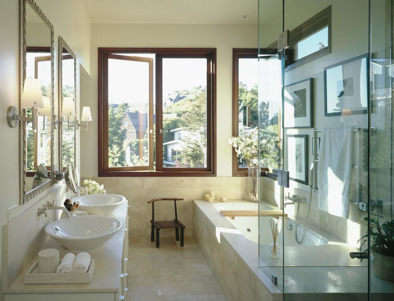 Интерьер ванная с окном фото