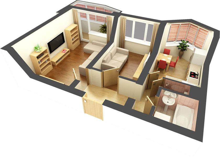 Готовые дизайн проекты 2 комнатных квартир