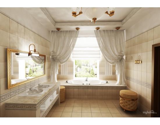 Интерьер ванной комнаты с окном в загородном доме фото