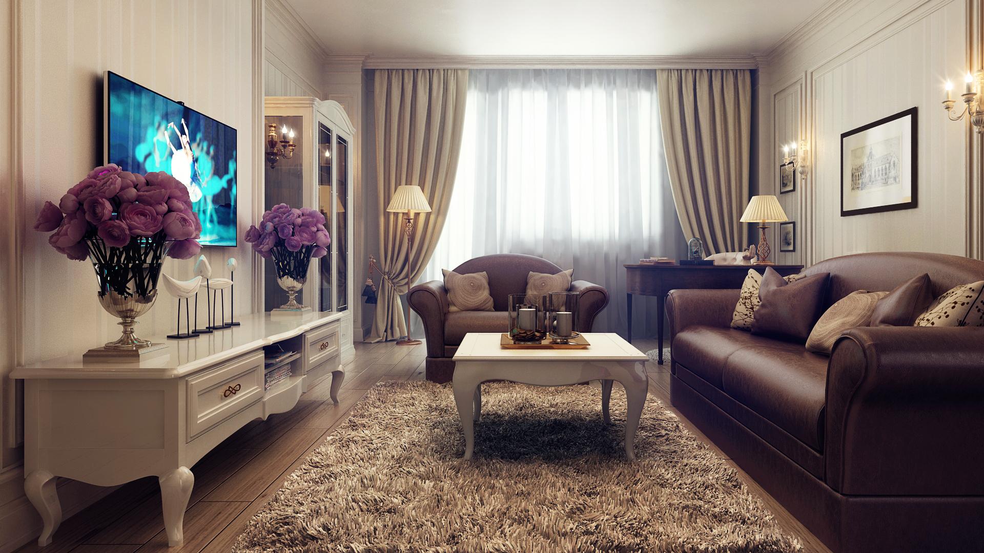 Дизайн интерьера белый с коричневым