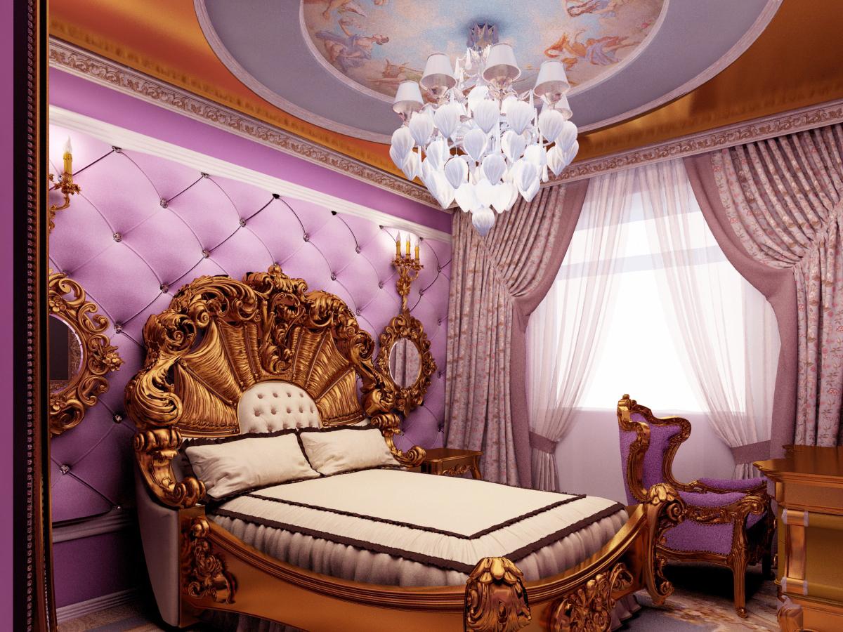 Фото дизайна спальни в стиле барокко