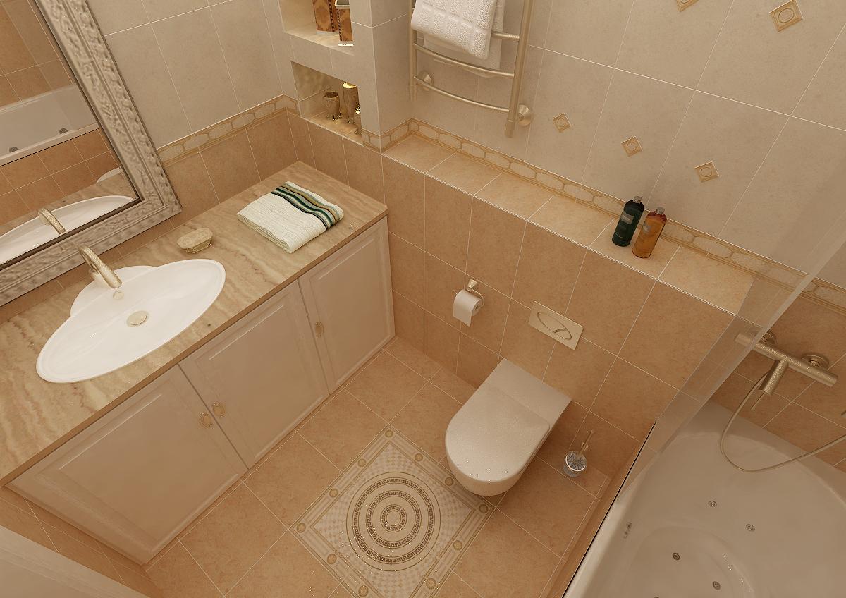 Дизайн маленькой ванной комнаты совмещенной с туалетом 4 кв м