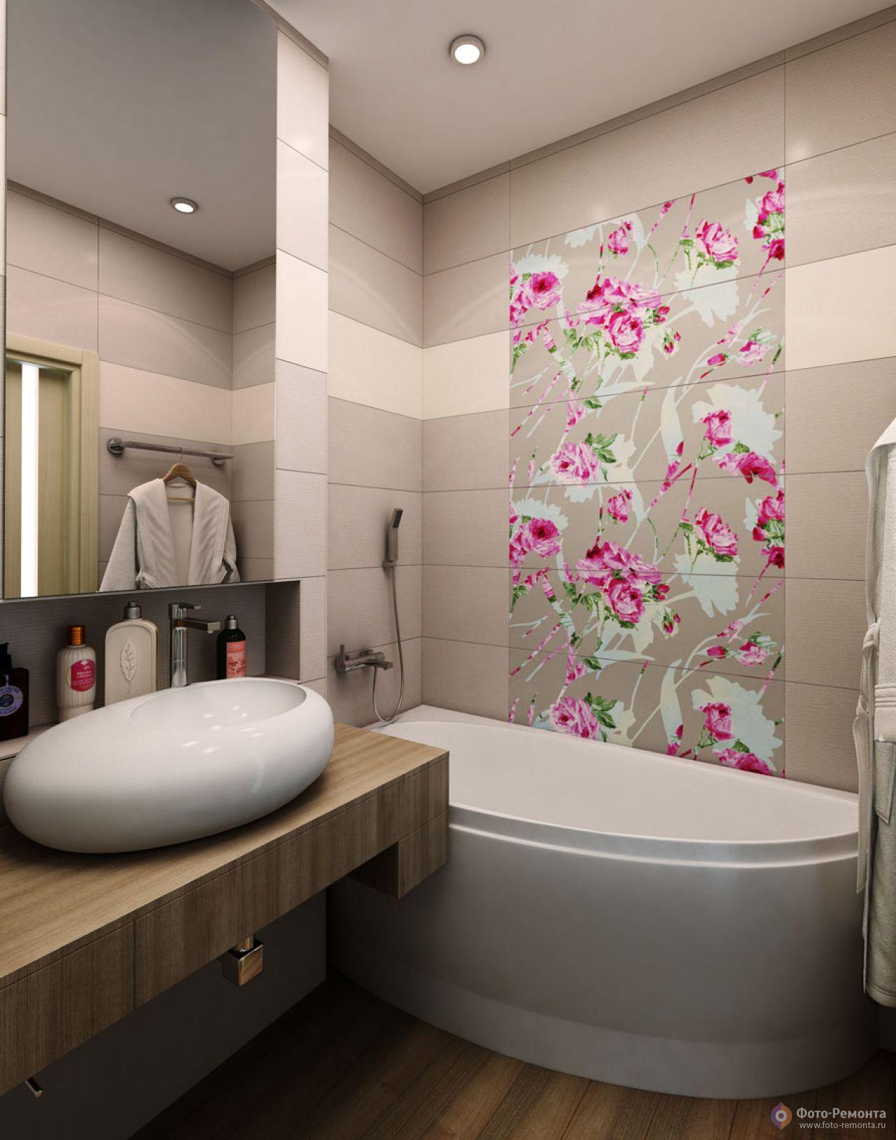 Современный дизайн стандартной ванной комнаты