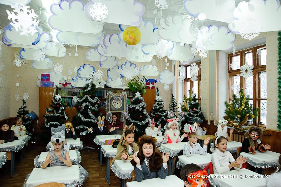 Новогоднее украшение класса своими руками