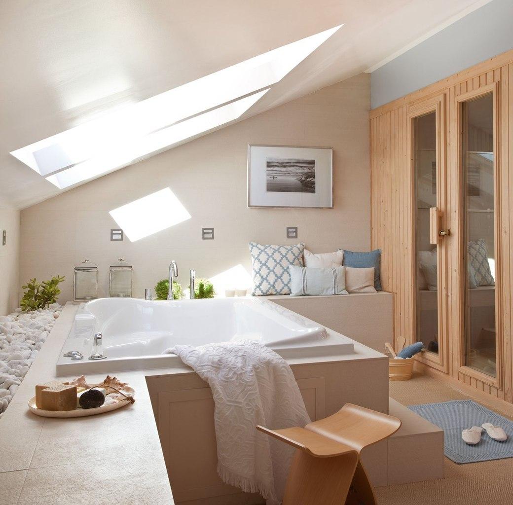 Фото дизайна ванны на мансарде