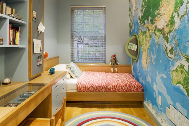 Дизайн детской узкой и длинной комнаты