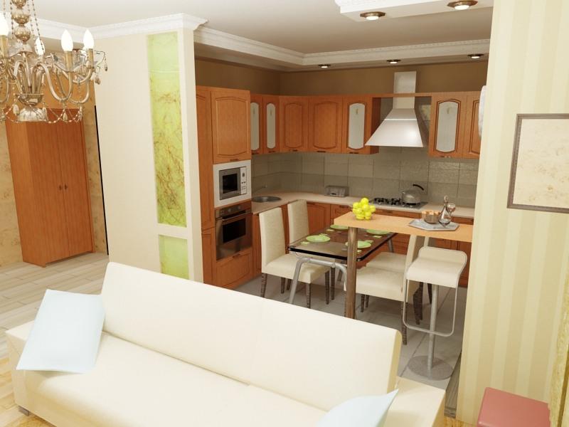 Кухни объединенные с комнатой дизайн