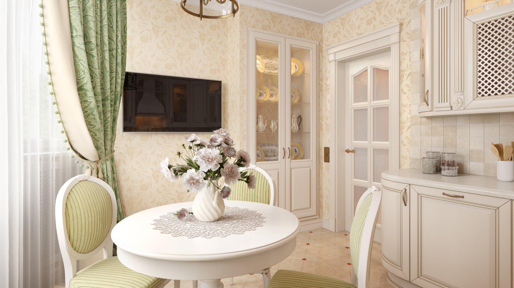 Интерьер однокомнатной квартиры в классическом стиле фото