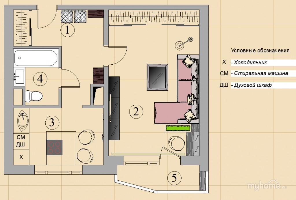 Дизайн проекты однушек п44т