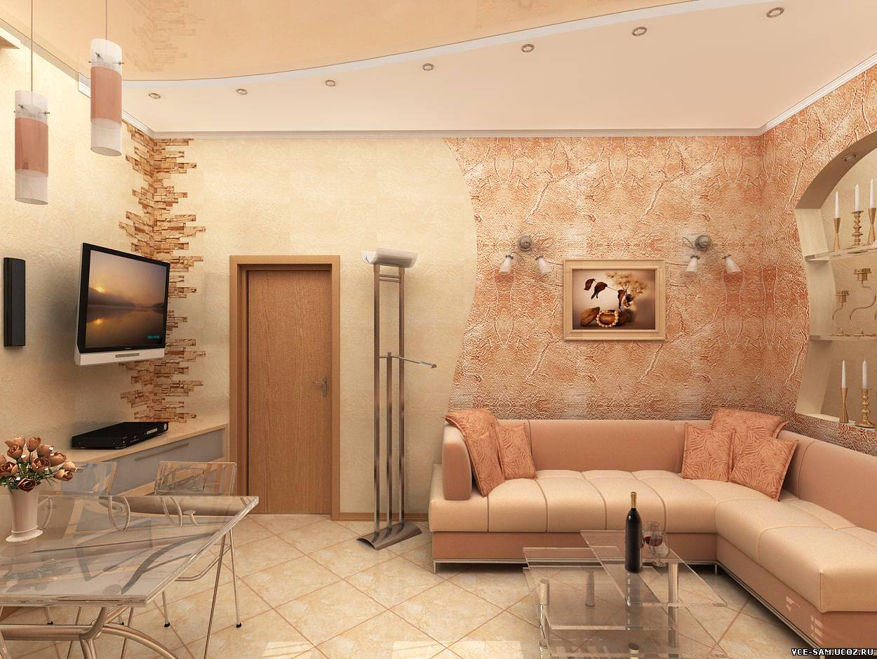 Дизайн интерьера маленького зала реальные
