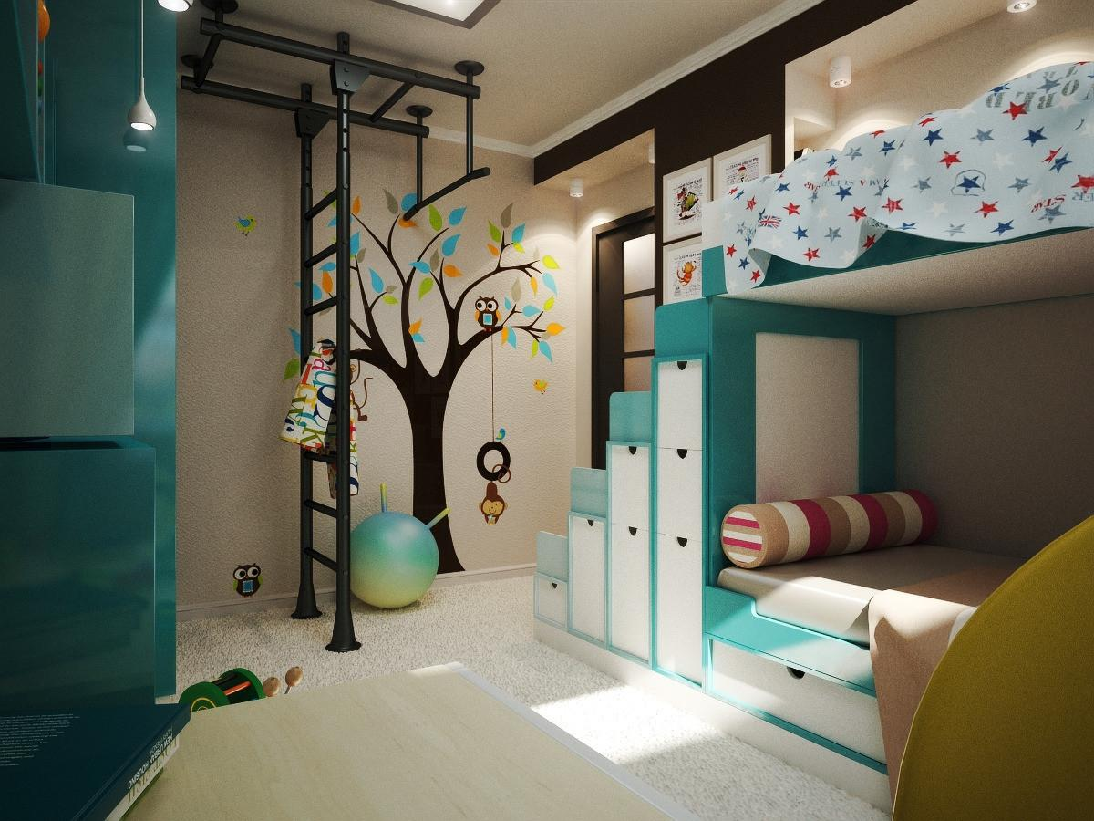 Интерьер детской комнаты для мальчика и девочки 12 кв.м фото