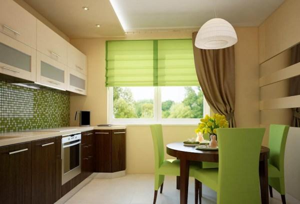 Зеленая с коричневым кухня в интерьере фото