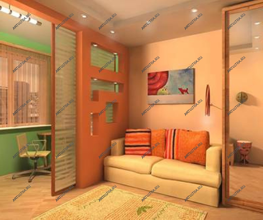 Ремонт комнаты с балконом поделенной на зоны.