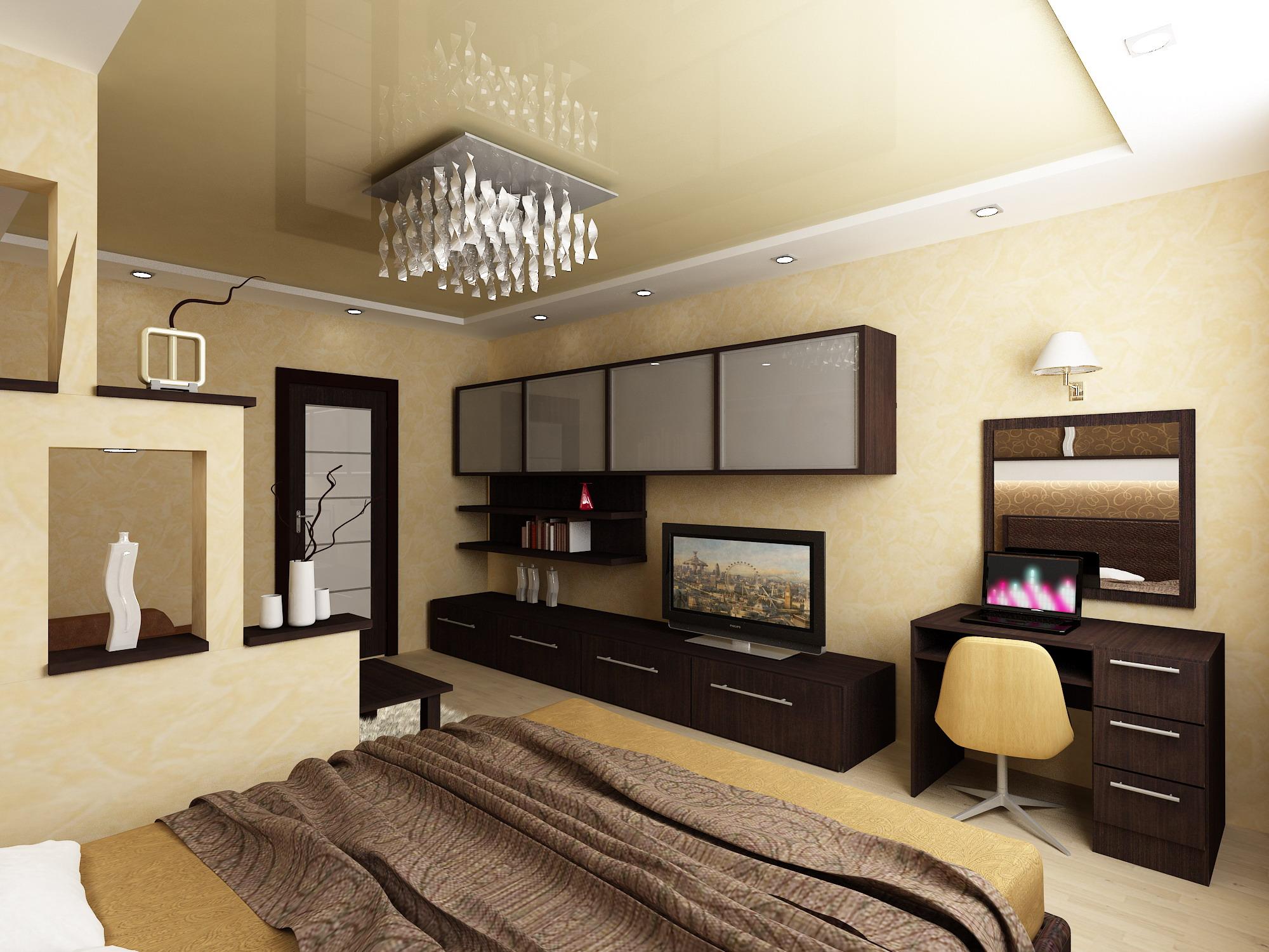 Дизайн квадратной комнаты спальни-гостиной