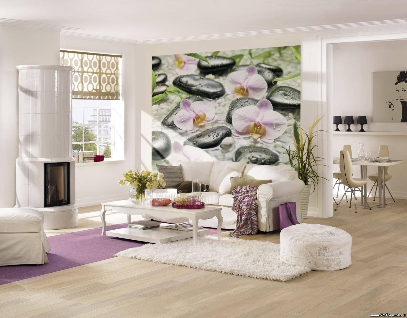 Обои с цветком фото дизайн зала
