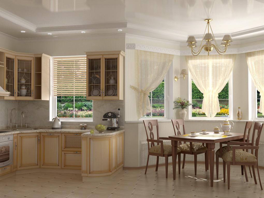 Дизайн кухни частного дома с эркером