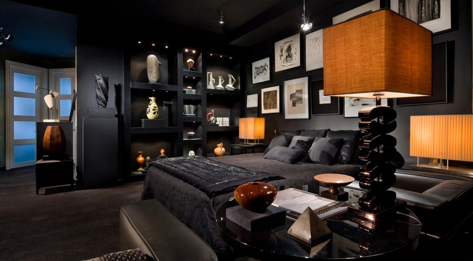 Дизайн и интерьер спальни в темных тонах фото