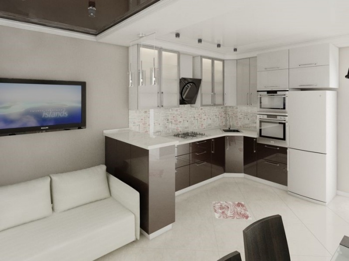 Фото дизайна кухни 14 кв.м