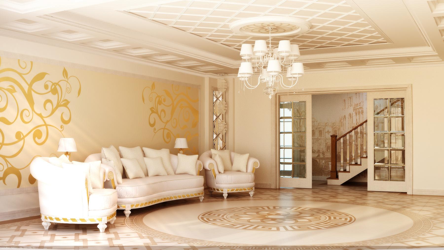 Идеи обоев для зала в доме фото