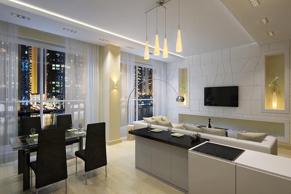 Современный интерьер кухни-гостиной фото